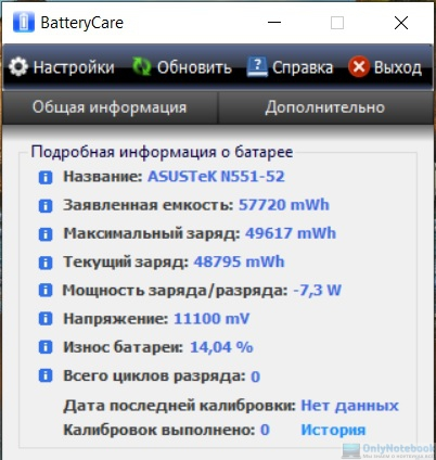 Пример анализа состояния батареи в BatteryCare